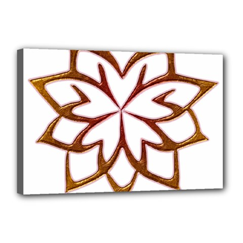 Abstract Shape Outline Floral Gold Canvas 18  X 12  by Nexatart
