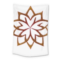 Abstract Shape Outline Floral Gold Small Tapestry by Nexatart