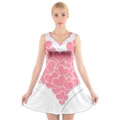 Heart Stripes Symbol Striped V Neck Sleeveless Skater Dress
