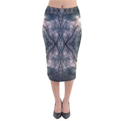 Storm Nature Clouds Landscape Tree Velvet Midi Pencil Skirt by Nexatart