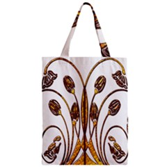 Scroll Gold Floral Design Zipper Classic Tote Bag by Nexatart