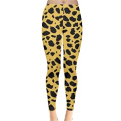Skin Animals Cheetah Dalmation Black Yellow Leggings  by Mariart