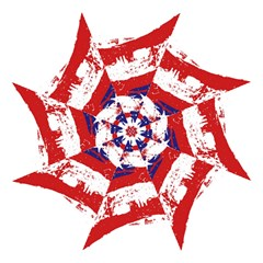 Red White Blue Star Flag Hook Handle Umbrellas (large) by Mariart