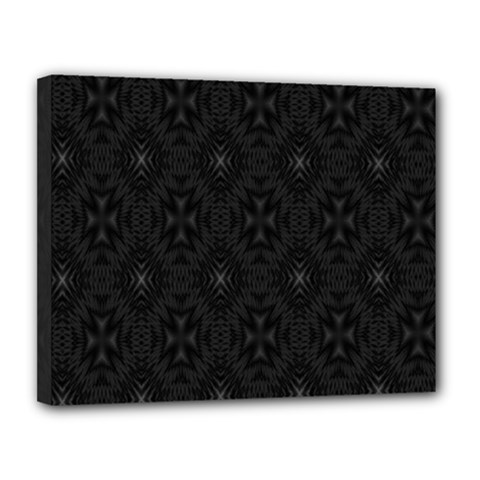 Star Black Canvas 14  X 11  by Mariart