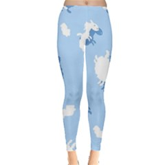 Vector Sheep Clouds Background Leggings  by Nexatart