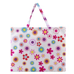 Floral Flowers Background Pattern Zipper Large Tote Bag by Nexatart