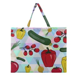 Vegetables Cucumber Tomato Zipper Large Tote Bag by Nexatart