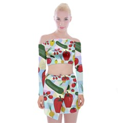Vegetables Cucumber Tomato Off Shoulder Top With Skirt Set by Nexatart