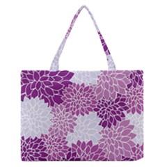 Floral Wallpaper Flowers Dahlia Medium Zipper Tote Bag by Nexatart