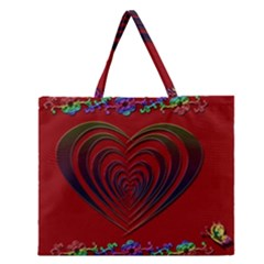 Red Heart Colorful Love Shape Zipper Large Tote Bag by Nexatart
