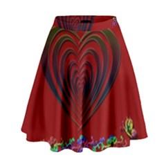 Red Heart Colorful Love Shape High Waist Skirt by Nexatart