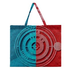 Vector Watch Texture Red Blue Zipper Large Tote Bag by Nexatart