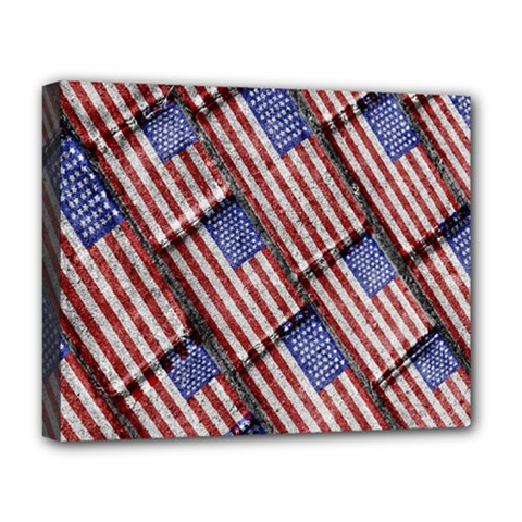Usa Flag Grunge Pattern Deluxe Canvas 20  X 16   by dflcprints