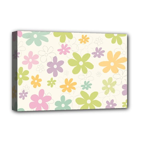 Beautiful spring flowers background Deluxe Canvas 18  x 12   by TastefulDesigns