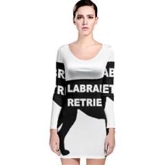 Labrador Retriever Black Name Color Silo Long Sleeve Velvet Bodycon Dress by TailWags
