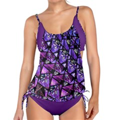 Blue Purple Shattered Glass Tankini by KirstenStar