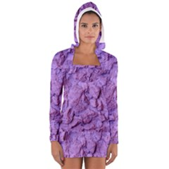 Purple Wall Background Women s Long Sleeve Hooded T Shirt by Costasonlineshop