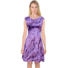 Purple Wall Background Capsleeve Midi Dress by Costasonlineshop