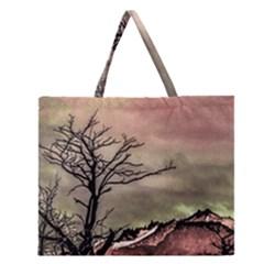 Fantasy Landscape Illustration Zipper Large Tote Bag by dflcprints