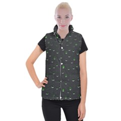 Cactus Pattern Women s Button Up Puffer Vest by ValentinaDesign