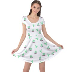 Cactus Pattern Cap Sleeve Dresses by ValentinaDesign