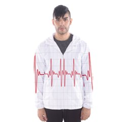 Cardiogram Vary Heart Rate Perform Line Red Plaid Wave Waves Chevron Hooded Wind Breaker (men) by Mariart