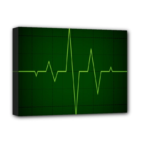 Heart Rate Green Line Light Healty Deluxe Canvas 16  X 12   by Mariart