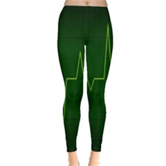 Heart Rate Green Line Light Healty Leggings  by Mariart