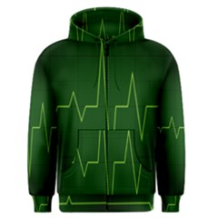 Heart Rate Green Line Light Healty Men s Zipper Hoodie by Mariart