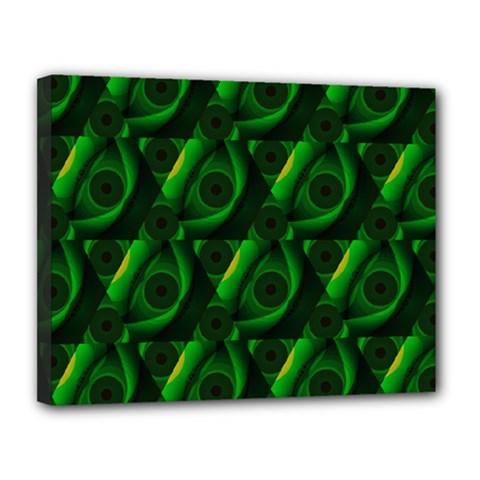 Green Eye Line Triangle Poljka Canvas 14  X 11  by Mariart