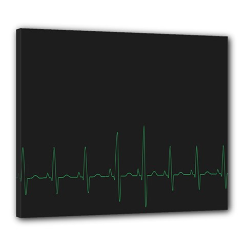 Heart Rate Line Green Black Wave Chevron Waves Canvas 24  X 20  by Mariart