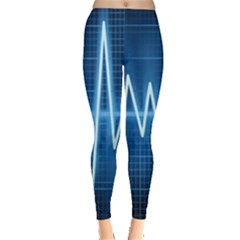 Heart Monitoring Rate Line Waves Wave Chevron Blue Leggings  by Mariart