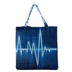 Heart Monitoring Rate Line Waves Wave Chevron Blue Grocery Tote Bag by Mariart