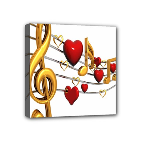 Music Notes Heart Beat Mini Canvas 4  X 4  by Mariart