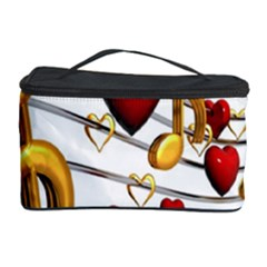 Music Notes Heart Beat Cosmetic Storage Case by Mariart