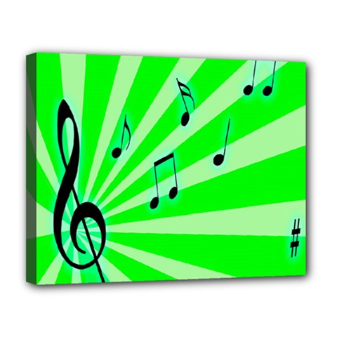 Music Notes Light Line Green Canvas 14  X 11  by Mariart