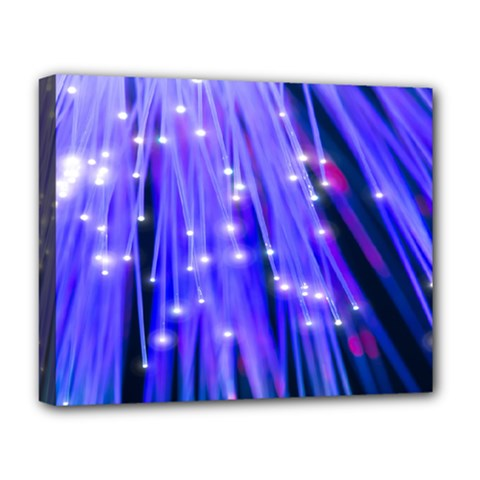Neon Light Line Vertical Blue Deluxe Canvas 20  X 16   by Mariart