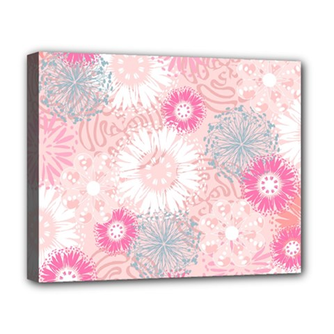 Scrapbook Paper Iridoby Flower Floral Sunflower Rose Deluxe Canvas 20  X 16   by Mariart