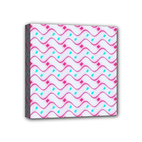 Squiggle Red Blue Milk Glass Waves Chevron Wave Pink Mini Canvas 4  X 4  by Mariart