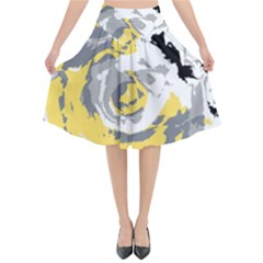 Abstract Art Flared Midi Skirt by ValentinaDesign