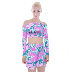 Abstract Art Off Shoulder Top With Skirt Set by ValentinaDesign