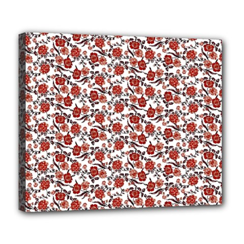 Roses Pattern Deluxe Canvas 24  X 20   by Valentinaart