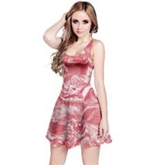 Shimmering Floral Damask Pink Reversible Sleeveless Dress
