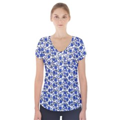 Roses Pattern Short Sleeve Front Detail Top by Valentinaart