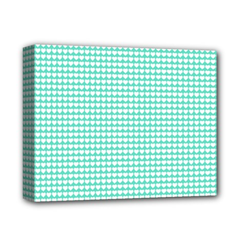 Solid White Hearts On Pale Tiffany Aqua Blue Deluxe Canvas 14  X 11  by PodArtist