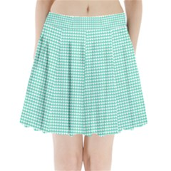 Solid White Hearts on Pale Tiffany Aqua Blue Pleated Mini Skirt by PodArtist