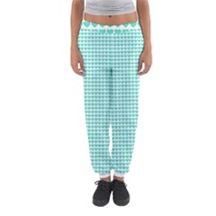 Tiffany Aqua Blue Candy Hearts on White Women s Jogger Sweatpants by PodArtist