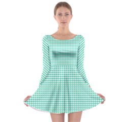 Tiffany Aqua Blue Candy Hearts on White Long Sleeve Skater Dress by PodArtist