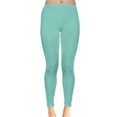 Tiffany Aqua Blue Puffy Quilted Pattern Leggings  by PodArtist