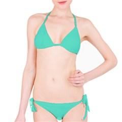 Classic Tiffany Aqua Blue Solid Color Bikini Set by PodArtist